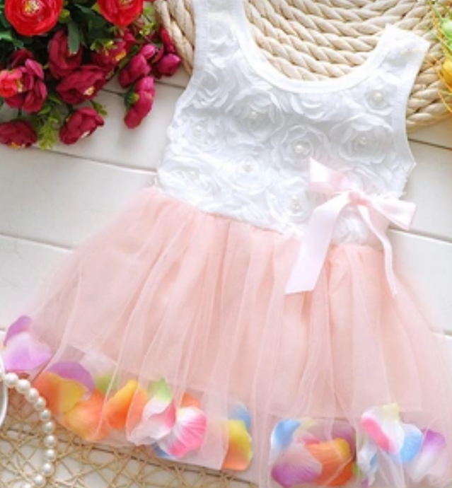Gorgeous White and Pink Petal and Pearl dress! 12 Months - Chandra's Bowtique  - 1