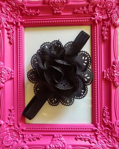 Beautiful Chiffon Flower with Eyelet Design Baby Girl Headband! Many Colors Available! - Princesses Design