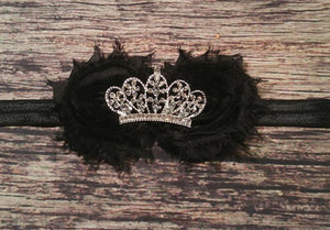 Black Shabby Rhinestone Royal Crown Headband! - Princesses Design