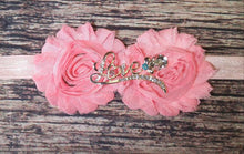 Pink Shabby Flowers and Bronze Love Rhinestone Headband - Princesses Design
