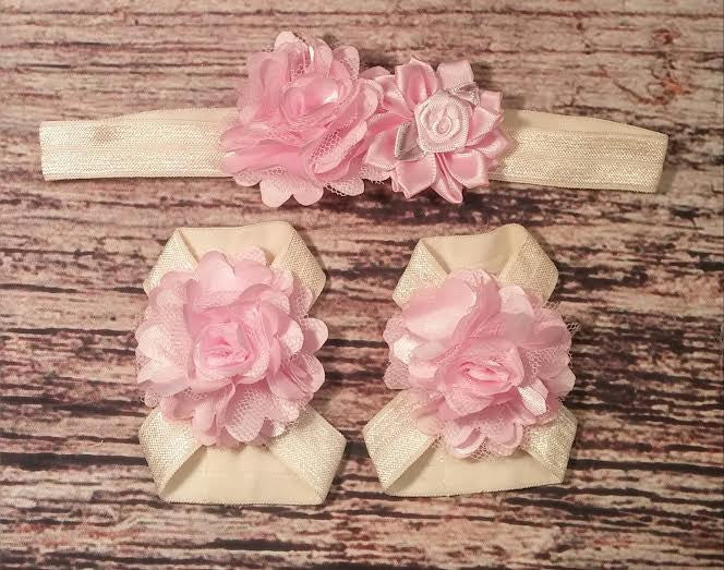 Cream and Light Pink Rose and Carnation Flower Baby Headband and Barefoot Sandal Set - Princesses Design