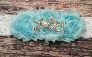 Aqua Rhinestone and Pearl Love Headband