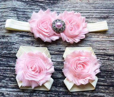 Pink and Cream Jeweled Headband and Barefoot Sandals Set