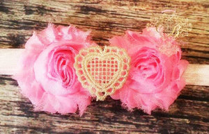 Pink with Gold Lace Heart center Headband