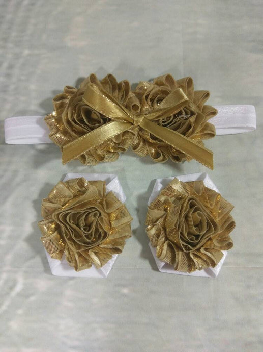 Baby Girl Metallic Gold Shabby and Bow Headband and Barefoot Sandals - Princesses Design