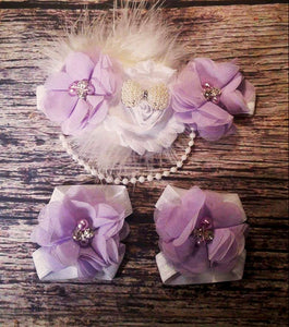 Beautiful Fancy Feather and Pearl White and Purple Baby Girl Headband and Barefoot Sandal Set / Baby Headband / Baby Barefoot Sandals / Bow - Princesses Design