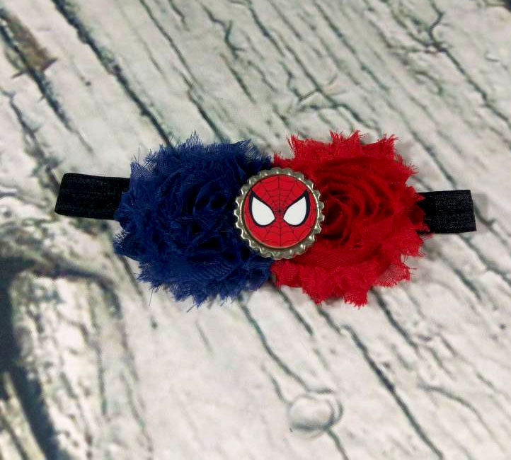 Spider Man Headband / Baby Headband / Baby Girl Headband / Theme Headband / Red and Blue / Baby Bows / Girls Hair Bows / Headbands and Bows - Princesses Design