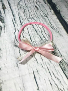 Pink and Gold Double Bow Nylon Headband - Princesses Design
