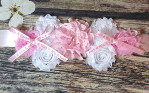Pink and White with It's a Girl Ribbon Maternity Sash - Princesses Design