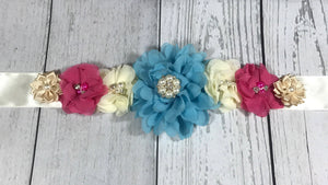 Blue, Cream, Dark Pink and Beige Maternity Sash - Princesses Design