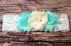 Beautiful Aqua and Cream Lace Headband - Princesses Design