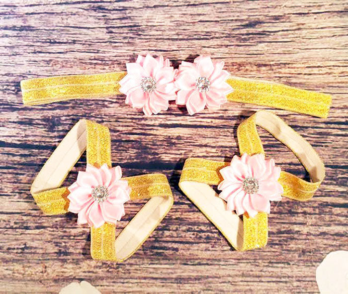 Pink and Gold Baby Barefoot Sandals and Headband -  Baby Barefoot Sandals - Baby Girl Headband - Newborn Barefoot Sandals - Gold Sandals - Princesses Design
