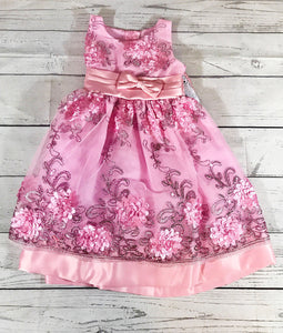 Beautiful Pink Flower Embroidered Dress