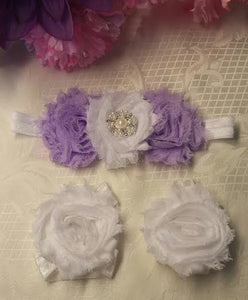 Purple and White With Rhinestone Headband and Barefoot Sandals Set / Baby Headband / Baby Barefoot Sandals / Toddler / Infant / Baby Bows - Princesses Design