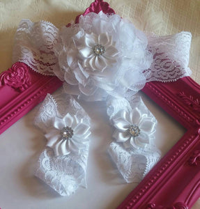 Beautiful White Chiffon and Lace Headband and Satin Barefoot Sandal Set - Princesses Design