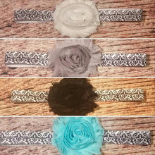 Shabby Flower Damask Headband - Multiple Colors Available - Princesses Design