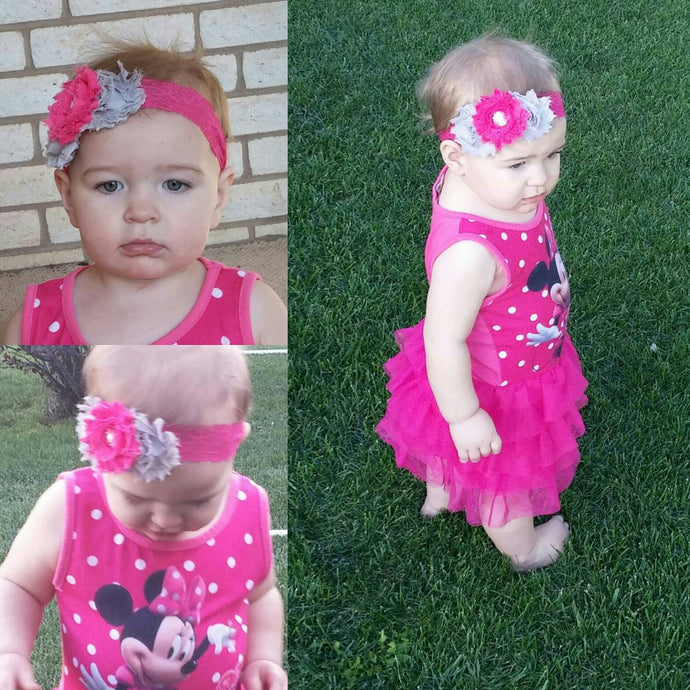 Beautiful Grey and Dark Pink Lace Headband and Barefoot Sandals - Princesses Design