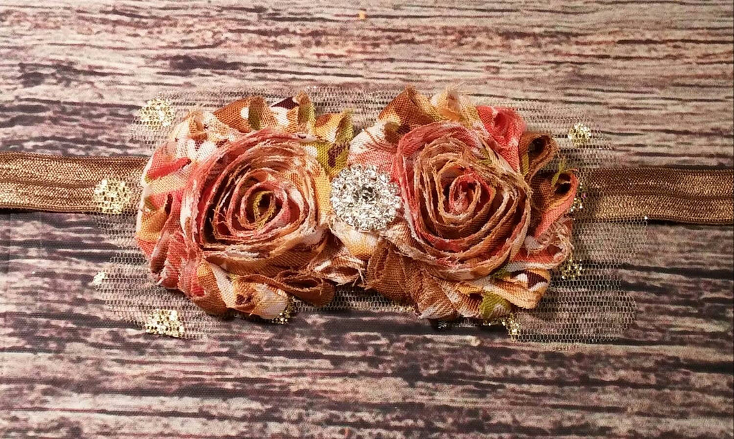 Tan and Multi Colored Headband! Gold Tulle Edging / Baby Girl Headband / Rhinestone / Baby Headband / Brown Tan Headband / Baby Bows / - Princesses Design
