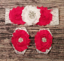 Red and White Rhinestone and Lace Headband and Barefoot Sandals Set / Baby Headband / Infant Headband / Toddler  / Baby Bows / Christmas - Princesses Design