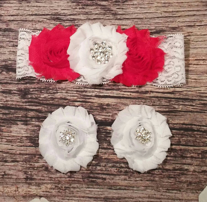 Beautiful Red and White Rhinestone and Lace Headband and Barefoot Sandals Set