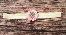 Pink and Ivory Satin Rhinestone Flower Headband and Barefoot Sandals - Princesses Design