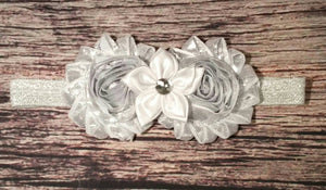 Silver and White Star Headband