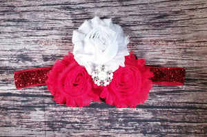 Red and White Fancy Tri Headband