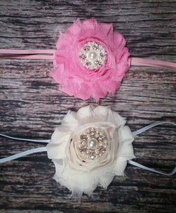 Set of 2 Thin Banded Headbands - Pink and Cream - Princesses Design