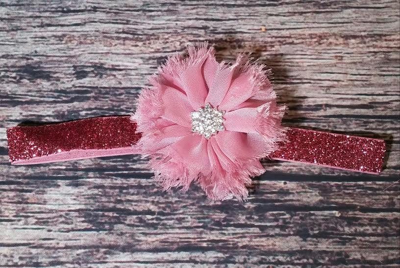 Mauve Ballerina Flower Rhinestone Glitter Headband / Baby Headband / Toddler Headband / Infant Headband / Baby Bows / Baby Girl / Newborn - Princesses Design