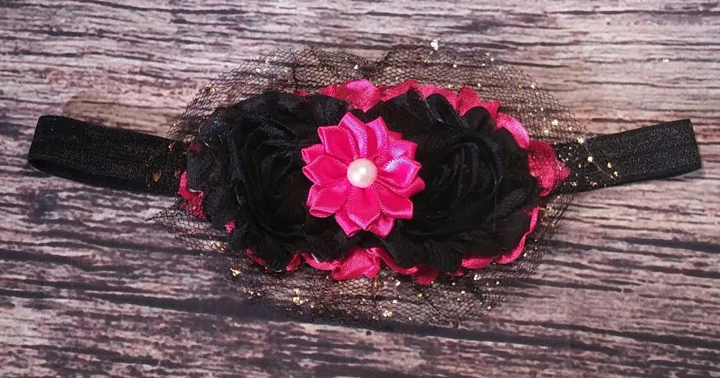 Hot pink, Black Shabby, Satin Pearl Flower, and Gold Dusted Black Tulle Headband - Princesses Design