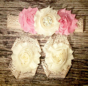 Pink and Cream Shabby Flowers and Rhinestone on Vintage Peachy Lace / Baby Headband / Baby Girl Headband / Vintage Headband / Beautiful Bows - Princesses Design