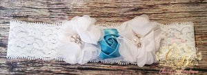 White Chiffon and Blue Satin Rose Girls Lace Headband