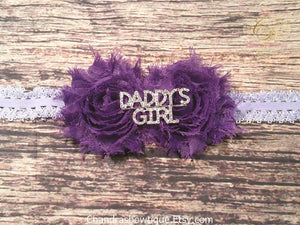 Purple Shabby Daddy's Girl Rhinestone Headband / Baby / Baby Girl / Baby Girl Headband / Headband / Headbands for babies / Infant Headbands - Princesses Design