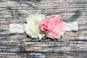 Beautiful Ivory and Pink Rose and Lace Headband