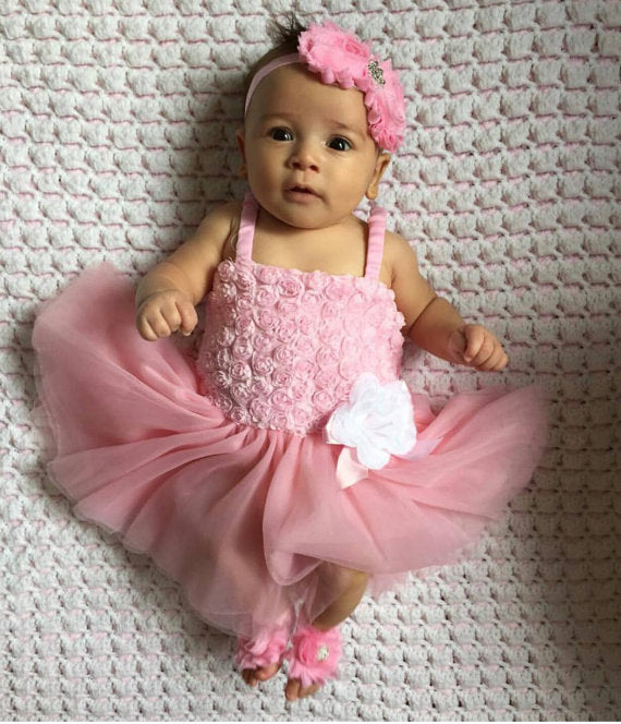 Beautiful Pink Rhinestone Bling Headband and Barefoot Sandals - Princesses Design