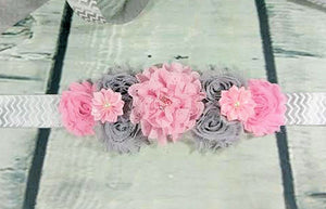 Pink and Gray Chevron Maternity Sash - Princesses Design