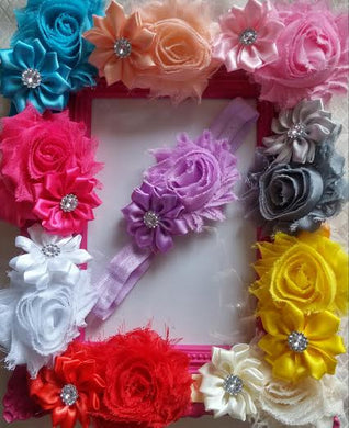 Satin Rhinestone Flower and Shabby Baby Girl Headbands! Tons of Colors! - Princesses Design