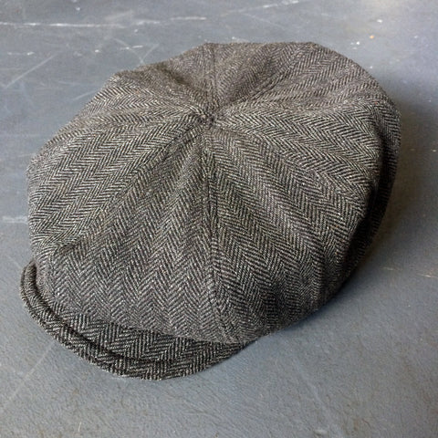 8-Panel Cap in Gray Herringbone