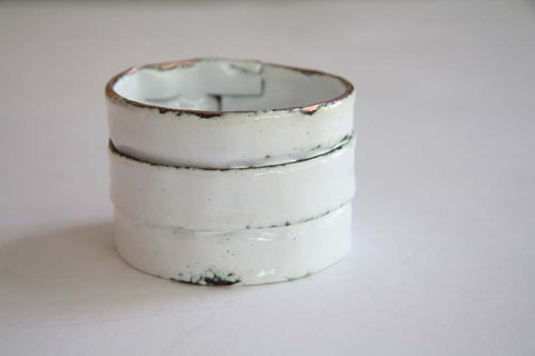 Enamel Copper Double Fold Bangle (White) by Melanie Rice