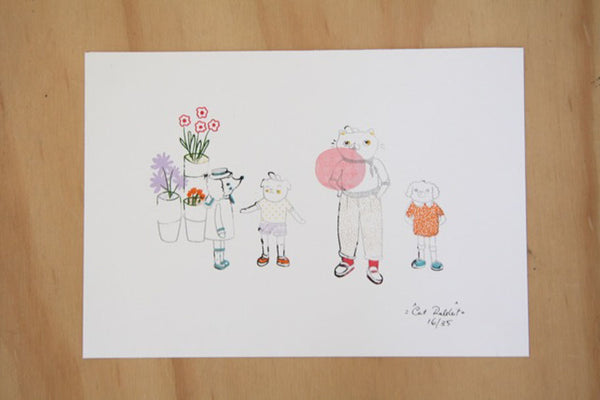 Le Bubblegum Gocco Print by Cat Rabbit