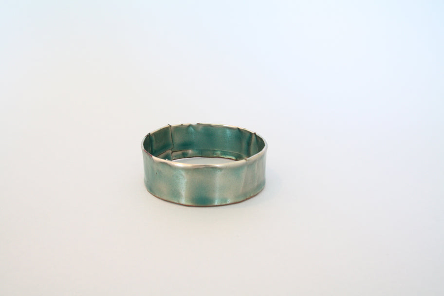 Enamel Bangle Thin (Opalescent Blue) by Melanie Rice
