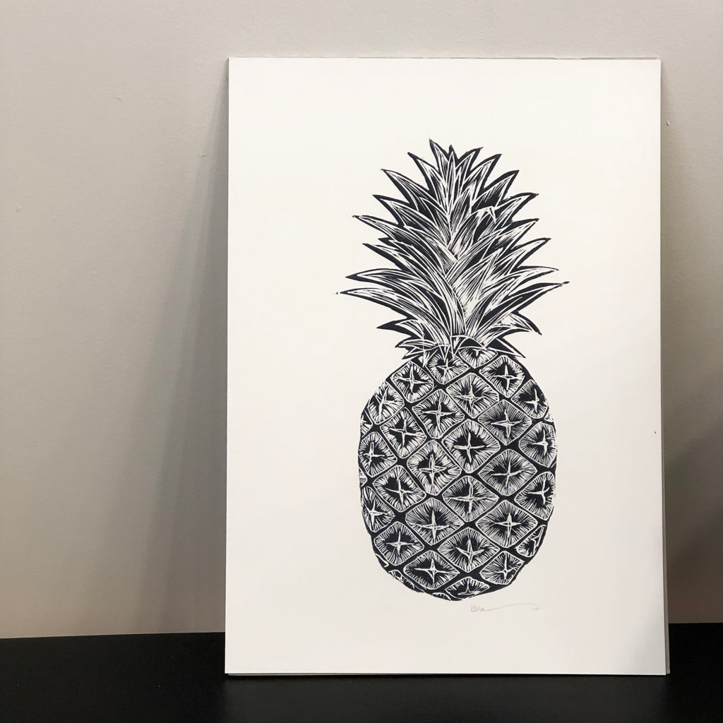 Pineapple Print A3 by Karen Mazonas - Unframed