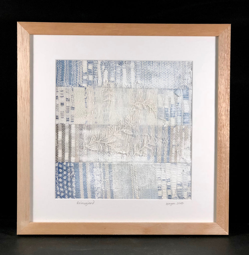 Reimagined framed fabric and embroidered artwork with timber frame by Morgan Higgins