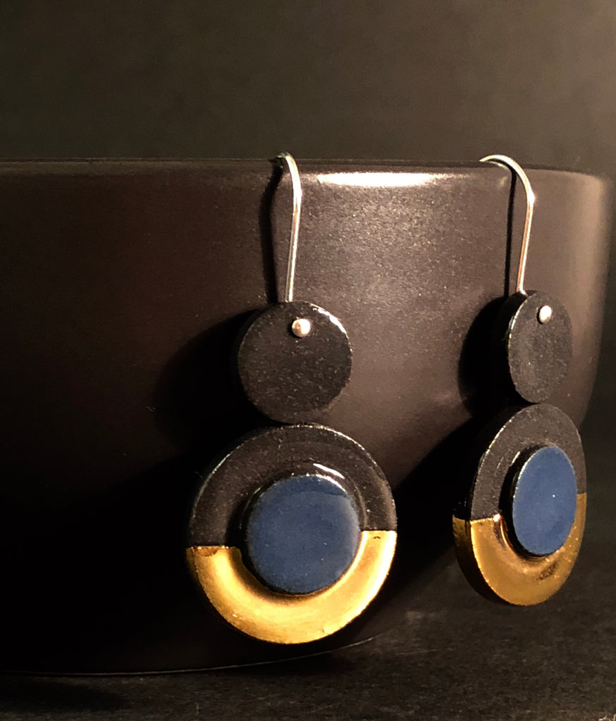 Blue Scarab Earrings by Erin Lightfoot