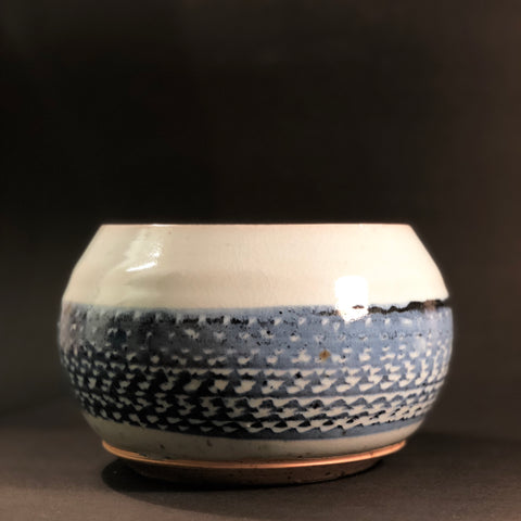 Clay Planter (Blue and Black Glaze) by Gordon Hickmott (Brixton St Pottery)
