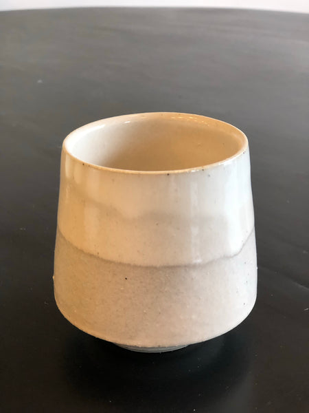 Espresso / Tea Cup (White & Grey Glaze) by Gordon Hickmott (Brixton St Pottery)
