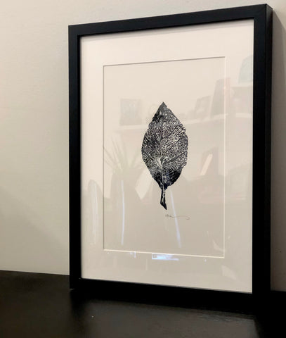 Little Leaf Lino Print A4 by Karen Mazonas - Framed