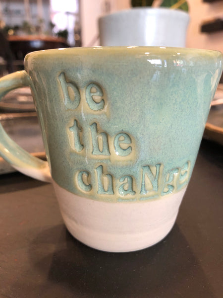 'Be the Change' Porcelain Mug by Jade Lees-Pavey
