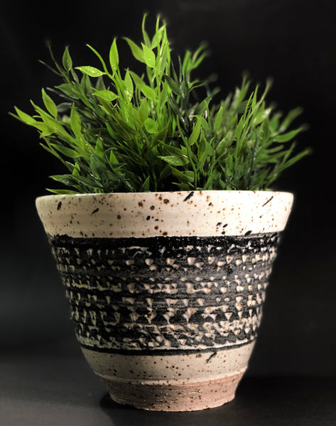 Clay Planter (Natural and Black Glaze) by Gordon Hickmott (Brixton St Pottery)
