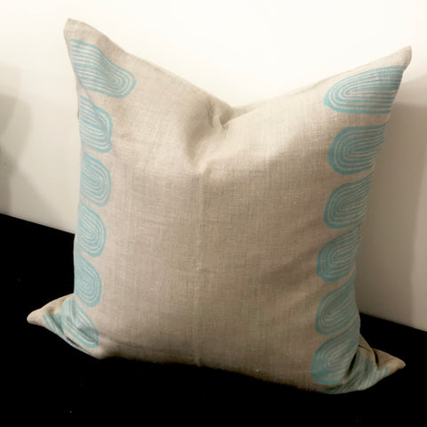 Green Arches on Oat - Linen Cushion Cover by Pebble and Stone includes Feather Cushion